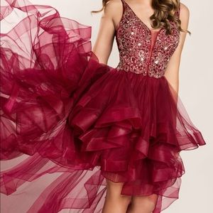 Size 4 Ellie Wilde/mon Cheri high-low wine dress